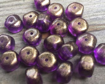 12 vintage lucite purple with gold round with six flat side beads