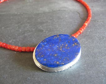 Gorgeous Lapis and Coral  Necklace in Sterling Silver