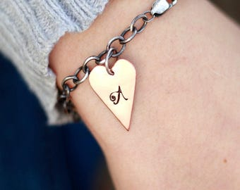 Copper Heart Bracelet, Valentines Day, Sterling Heart Bracelet, Wedding Bracelet, Personalized, Custom Initial Bracelet, Sterling Silver