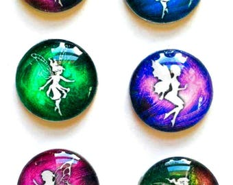 Fairy Magnets - Fairie Magnet - Fairy Party Favor - Fairy Wedding - Set of 6 - 1 Inch Domed Glass Circles
