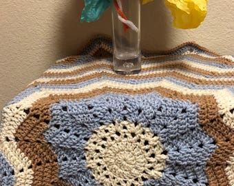 Crocheted Baby 12 point Star Afghan in Blue Brown and Beige