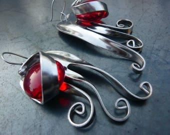 fork earrings with red stone