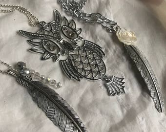 Vintage owl necklace, articulated owl necklace, vintage owl, vintage articulated owl pendant