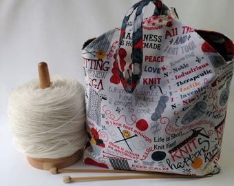 knitting project bag - crochet amigurumi WIP - Tulip Bag - drawstring pouch - knitting quotes fabric black red - free knitting pattern