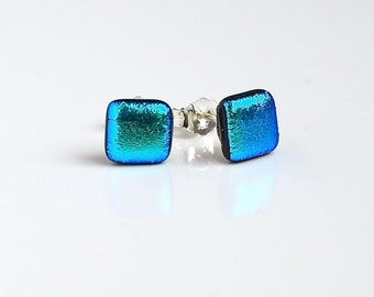Turquoise Stud Earrings - Turquoise Glass Earrings - Earrings for Women -  Dichroic Glass Studs - Turquoise Stud Earrings - ES 691