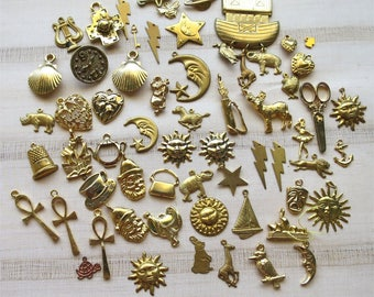 Huge mix of charms brass gold