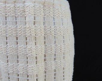 1950s Vintage 50s Cream Ivory Heavy Cotton Knit Skirt Medium M