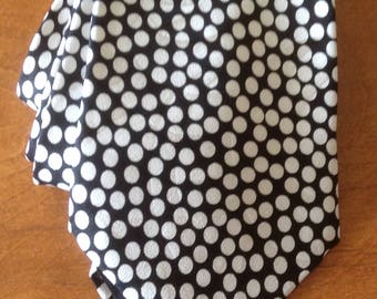 Vintage Silk Giancarlo Necktie, Silk Tie, Polka Dot Tie, Black and White