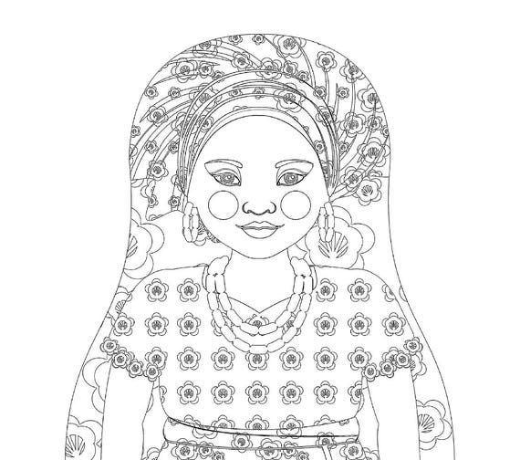 Southern Nigerian Doll Traditional Dress Coloring Sheet Printable