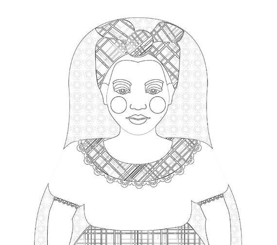 Jamaican Doll Folk Dress Coloring Sheet Printable Matryoshka