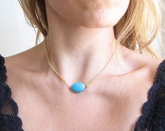 Turquoise Beaded Choker Turquoise Necklace Turquoise Choker Beaded Necklace Gold Chain Crystal Necklace