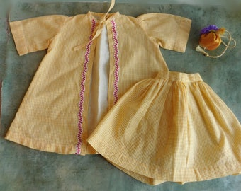 "Vintage Doll Clothes Outfit - Yellow Checked Play Outfit - Gathered Skirt, Short-Sleeved Smock - Embroidered Trim - 1950s Era - For 18"" Doll"