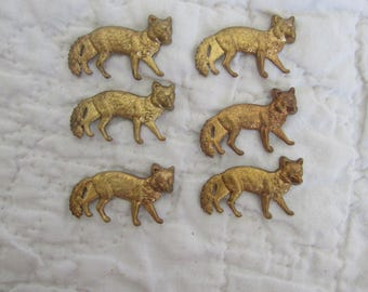 6 Vintage Brass Wolf Cabochons Stampings great for Craft and Scrapbooking