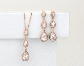 SALE Rose gold earrings, Rose gold necklace set, Bridal jewelry set, Bridal earrings, Wedding jewelry, Sterling silver, Crystal earrings