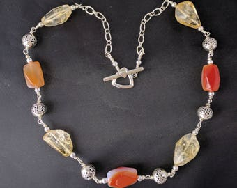 Citrine and Agate Sterling Silver Necklace