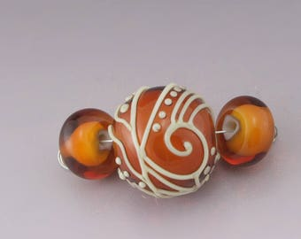 Transparent Topaz Orange over White Light Green Scrollwork Lines Dots Scrolls Texture  Round Bead Set Heather Behrendt BHV SRA LETeam 5016