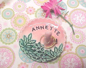 Valentine's Gift for Girl Friend or Mom, Personalized Ring Dish, Stamped Name RingDish, Jewelry Holder, Pottery Trinket Dish, Engraved Name
