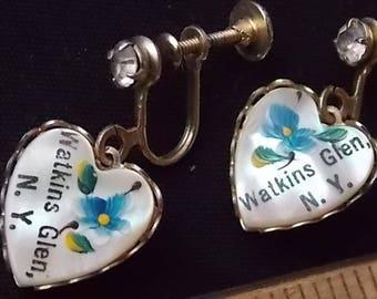 Vintage Heart Watkins Glen NY Earrings Screw Back HP Flowers
