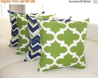 Navy Green Outdoor Pillow, Chevron Navy Pillow, Fynn Bay Green Pillow, Geometric Outdoor Throw Pillows - Set of 4 - free shipping
