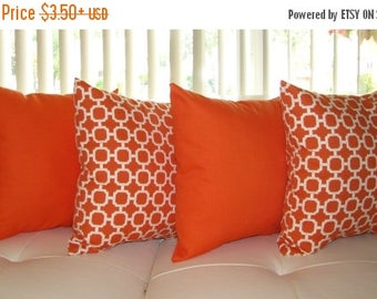 Orange Outdoor Pillow, Geometric Orange Pillow, Sundeck Orange and Hockley Mandarin Outdoor Throw Pillow - 4 Pack- Free Shipping