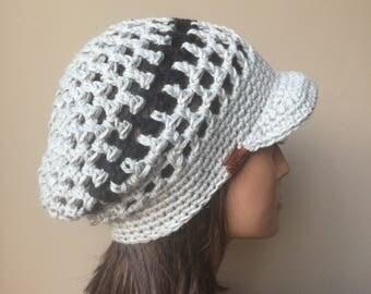 Rasta Mesh Slouchy Cap brimmed hat Grey Black Eco Friendly Hemp Wool Blend Autumn Fall Winter Fashion ready to ship