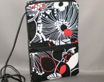 Smart Phone Purse - Passport Purse - Sling Bag - Hipster - Wallet on a String - Black, Red, White