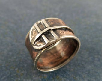 Copper and Silver rustic ring, adjustable