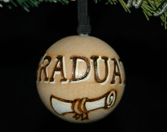 Graduation Ornament - Wood Burned - Personalized - Solid Wood