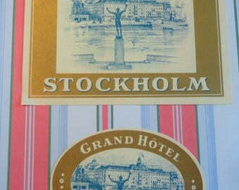 Wonderful Vintage Hotel Stickers for Grand Hotel Stockholm Sweden One Round One Square
