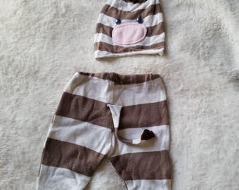 Preemie Newborn Baby zebra hat and pants with a tail. prop set newborn Stripes. One of the kind. READY TO SHIP. Upcycled