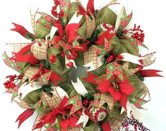 ON SALE Burlap Christmas Wreath in Moss Green with Red with Sweater Ornaments & Ribbon, Rustic Christmas Wreath, Red Poinsettia Christmas Wr