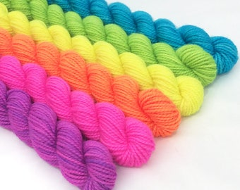 NEON Blacklight Hand-dyed Sock Yarn Mini Skein Set 6 x 25g 600yds