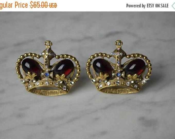 sale Crown Earrings, Rhinestone Earrings, Imperial Earrings, Tiara Earrings, Ruby Red Cabochon, Queen Earrings, 90s Earrings, Regal Earrings