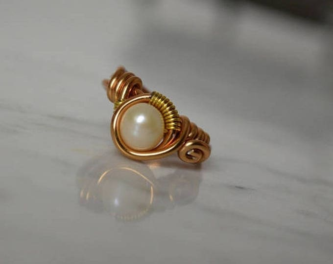 sale Gold Pearl Ring, Women's Rings, Wire Wrap Rings, Pearl Ring, June Birthday, Boho Ring, Handmade Ring, Statement Piece Ring, Gift for He