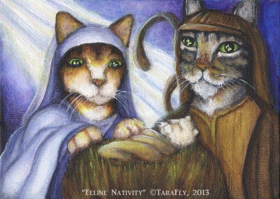 Feline Nativity Christmas Fine Art Print