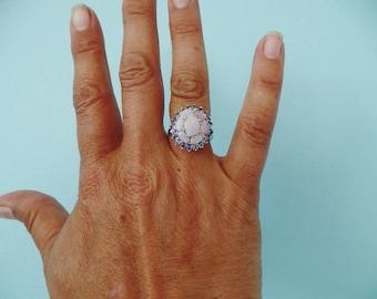 10K White Gold Opal Tanzanite Cocktail Ring Statement Estate Fine Jewelry October December Birthstone