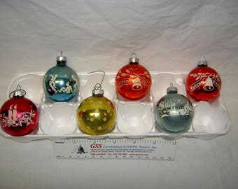 Vintage Flocked Christmas Ornaments (Group of 6)