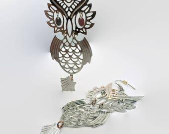 Owl Earrings, Vintage Earrings, Silver Owls, Articulated, Big Statement, Huge, Long Earrings, Dangle Earrings, Pierced, Modern, Mod, Retro