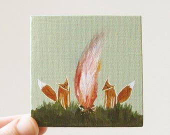 let's build a campfire / original painting on canvas