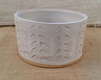 Large Ceramic Dog Water or Food Bowl: Handmade Pottery, White Matte Glaze, Tan Clay Body - OOAK!