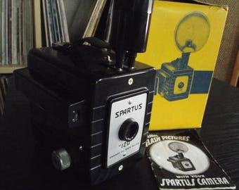 SALE 25% OFF 1950's Bakelite Spartus 120 Flash Box Camera with Flash & Original Box
