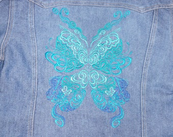 Jean Jacket Embroidered with a Beautiful Butterfly. Old navy jean jacket size L. Denim Jacket, Embellished jacket.