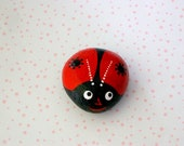 Ladybug painted pet rock summer birthday teacher gifts spring garden patio yard dot art lucky ladybird beetle glossy ruby red FREE SHIPPING
