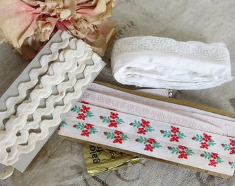 Adorable Batch Vintage French Tapes, Embroidered Trim, Cotton Broderie Anglaise, RicRac Braid Trimming, Craft Sewing Project