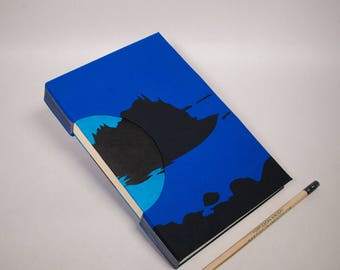 Hand-Bound Journal, Notebook, Sketchbook or Guestbook with a Bright Blue Fabric silkscreened with the Maine Coast and Lined Pages