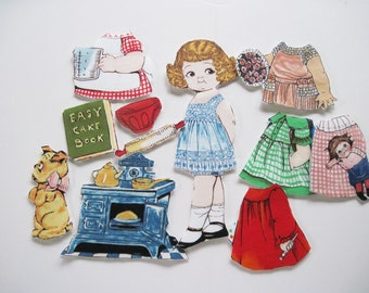 Fabric paper doll child travel toy church toy Penny Rose Bakery Karena