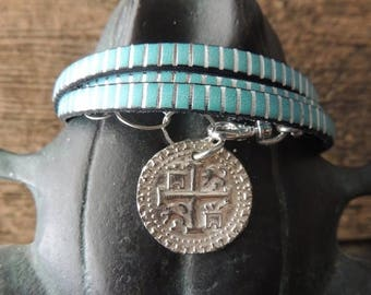 SALE Leather Bracelet, 4 Times Wrap Bracelet, Turquoise and Silver Leather, Silver Antique Coin Replica, Artisan Jewelry, Cuff Bracelet