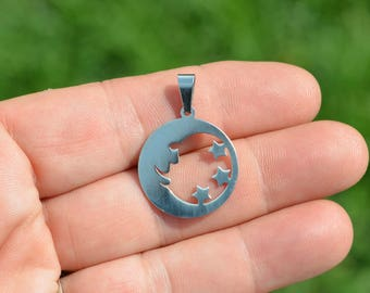 5 Stainless Steel Moon and Star Charms SC5036