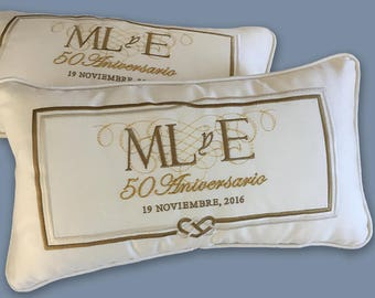 embroidered wedding anniversary pillows linen satin padrino madrina cojines religious ceremony large kneeling pillows cream gold