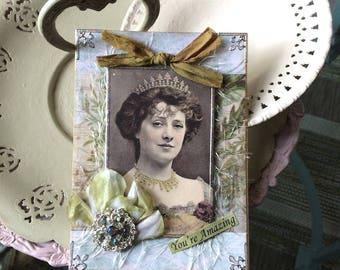 Inspirational Card - Friendship Card - Vintage Queen Card